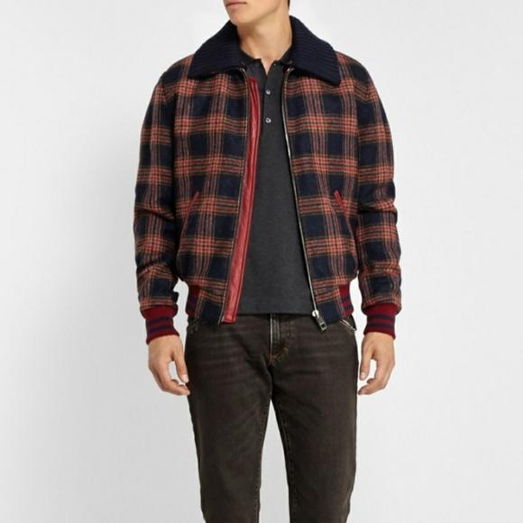 cbff50d80 DOLCE AND GABBANA Wool and Leather Bomber Jacket